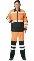 """Костюм """"МАГИСТРАЛЬ-ЛЮКС"""" : куртка, брюки оранжевый с чёрным и СО"""