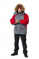 Куртка Брукс серый/красный